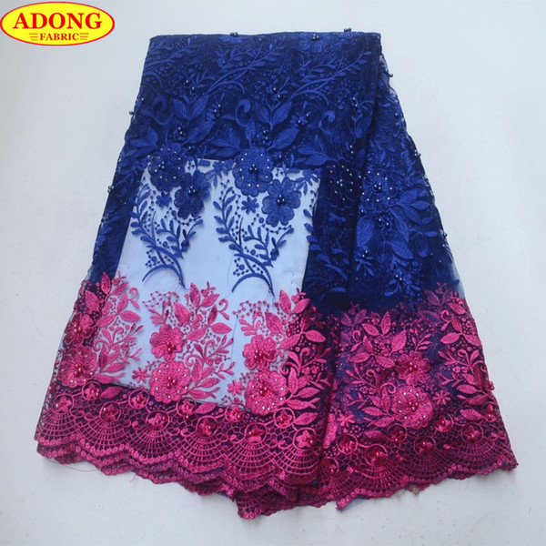 ADONG Pink Hollow Lace Trim Matched Sky Blue French Tulle Lace Fabric Embroider Flower African Lace Fabric with Stones Beads