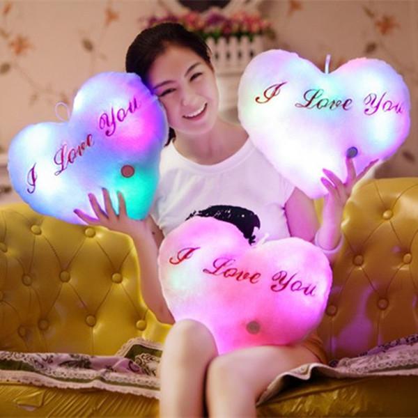 I LOVE YOU Light Up Plush Hangable Stuffed Illuminated Pillow White/Pink/Purple/Yellow/Blue Overnight Kids Toys Glowing Heart Shaped Pillow