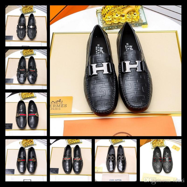 18ss Luxury Mens Loafers Leather Shoes Dress Wedding Casual Walk Shoes Office Work Made in Italy Shoes Tops Size 38-45