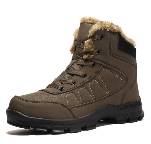 winter boots for men fur plush warm snow boots waterproof mens work shoes male rubber lace up ankle shoes zv847