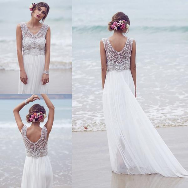 Sparkly Bohemian Beach Abiti da sposa 2019 Chiffon di seta a mano in rilievo di cristallo Bling Boho Vestido De Novia bianco avorio abiti da sposa