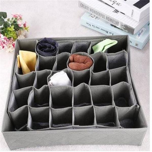 Wholesles envío gratis 30 Grid Slot Bamboo Charcoal Ties Calcetines Closet Closet Organizador Caja de almacenamiento