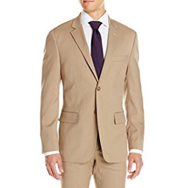Khaki Bräutigam Smoking Revers Revers Vent Formelle Anzüge Business-Männer tragen Hochzeits-Prom-Dinner-Anzüge (Jacket + Pants + Tie + Belt) NO; 447