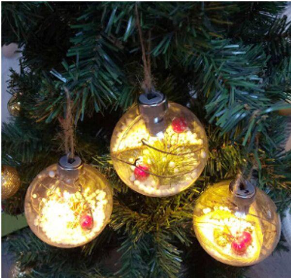 Sfera di Natale trasparente in plastica con luce a LED Albero di Natale appeso ornamento Decorazione del partito di Natale 8 cm