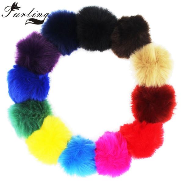 Furling DIY 1 adet Büyük 8 CM Faux Fur Pom poms Topu Örgü Şapka Aksesuarları için Anahtarlık Parçaları