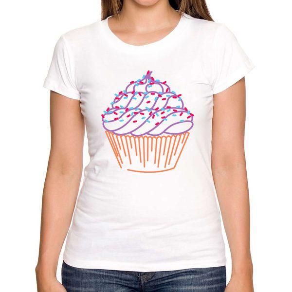Women's Tee Cheapest 2018 Summer Fashion Cupcake Design Women T-shirt Short Sleeve Casual Lady Tops Cartoon Printed Novelty Tee
