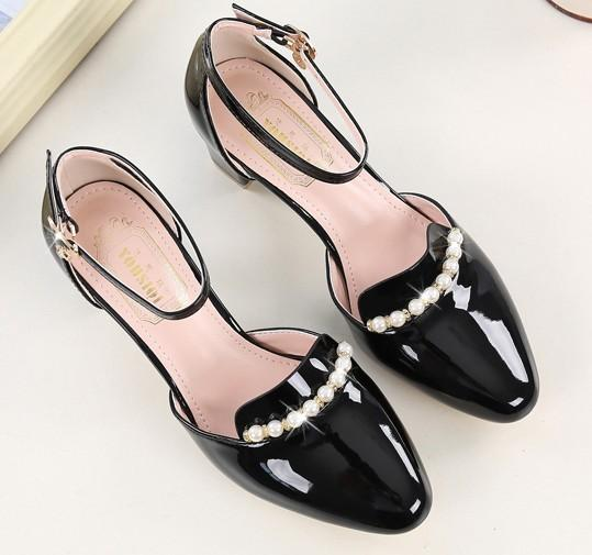 hot sell sexy dress shoes women high heel shoes pearl buckles pu evening party shoes feiyue2026