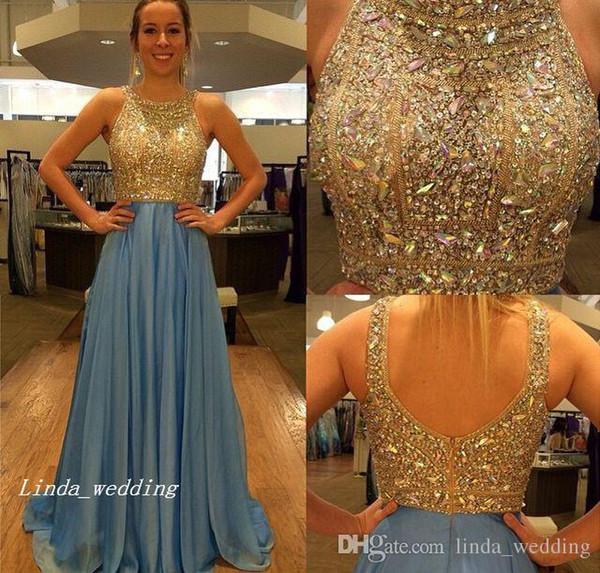 Schönes blaues Abschlussball-Kleid-Luxus eine Linie Chiffon- Backless wulstige Kristalle Abend-Party-Kleid plus Größe vestidos de festa