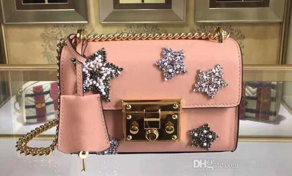 AAAAA Women 432182 Padlock Small Shoulder Bag,Crystal embroidered star appliqués,Lock Closure,with Box Dust Bag,Free Shipping