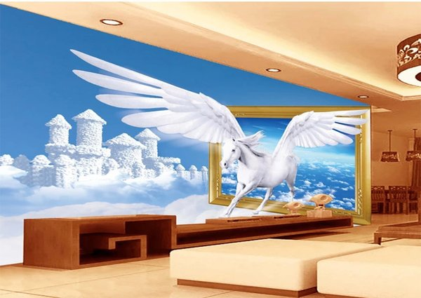 Customized Retail Dream Cloud Composed Of Palace Tianma 3D TV Background Wall Angel White Horse Flying From The Tiangong To The Mural