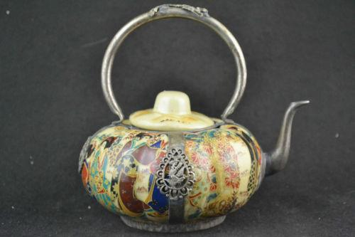 China Handwork porcelana miao prata esculpida dragão phoenix teapot