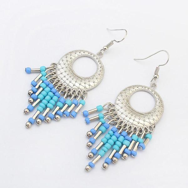SUSENSTONE 2017 Fashion Multicolor Boho Vintage Hollow Fringed Bead Long Earring Women Fashion Jewelry Bohemian Earing