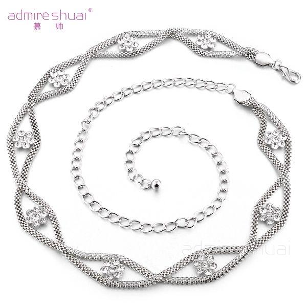 2016 New Fashion Women's Crystal Rhinestone Flower Silver Metal Chain Belt Hip Waist Belly Blin Cinturones Mujer BL-229
