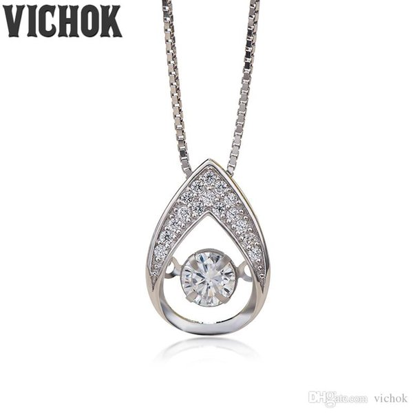 925 Sterling Silver Pendant&Necklace Water Drop Design Pendant Necklace For Women Lover Fine Jewelry Platinum Color Free Shipping VICHOK