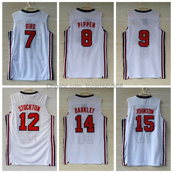 huge selection of c20a8 282bf 2019 1992 USA Dream Team Jerseys 7 Larry Bird 8 Scottie Pippen 12 John  Stockton 14 Charles Barkley Jersey Navy White Stitched Jerseys From ...