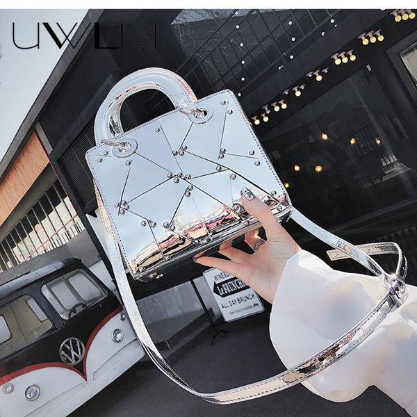 2018 Luxury Brand Messengers Bags Handbags Silver Party Wedding Clutch Bag Female Hologram Laser Patent Leather Crossbody Bag