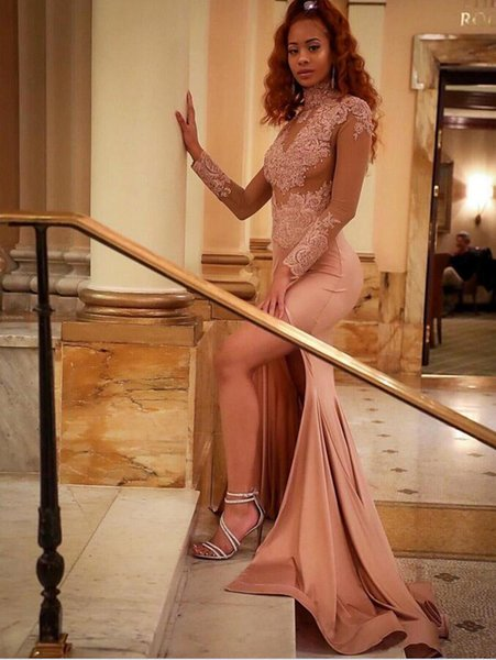 High Neck Crystals Beaded Long Prom Dresses Long Sleeves Lace Appliqued Side Split Dusty Pink Evening Dresses Sexy Illusion Bodices Wear