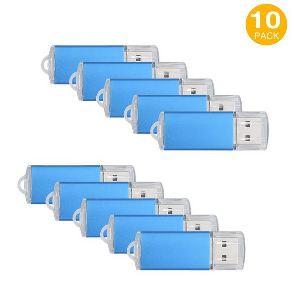 Blue 10PCS Rectangle USB 2.0 Flash Drives Enough Pen Drives Thumb Memory Stick Storage 64M 128M 256M 512M 1G 2G 4G 8G 16G 32G for PC Laptop