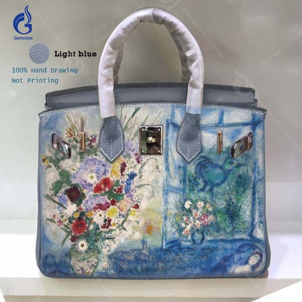 Larger Totes Real Genuine Leather Handbags Women Famous Brand Design Bag Hand Painted Graffiti Flowers for Ladies Bags