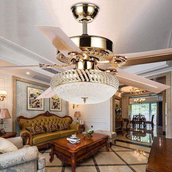 top popular Modern Ceiling Fan Lamp LED 3 Changing Light 5 Reversible Blades Crystal Chandeliers Light with Remote Control Mute Energy Saving Fan 2021