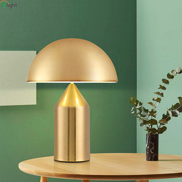 Modern Mushroom Led Table Lamp Lustre Gold Metal Bedroom Led Table Lights Living Room Led Table Light Fixtures Office Desk Lamp