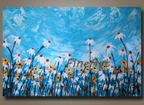 hand-painted on canvas palette knife texture floral painting wall art living room decoration unique gift Kungfu Art