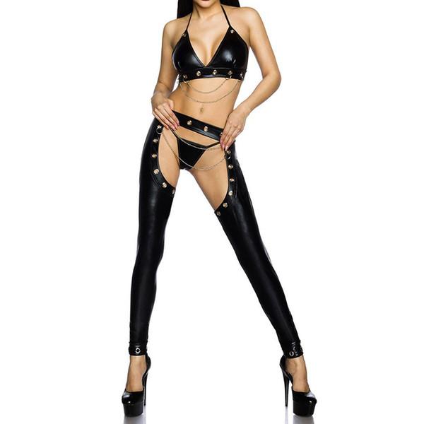 Women Exotic Apparel Sexy Cosplay Lingerie Suit Pole Dance Clothing Nightclub Bar DJ PU Costume Black PVC Leather Bra Pants Set