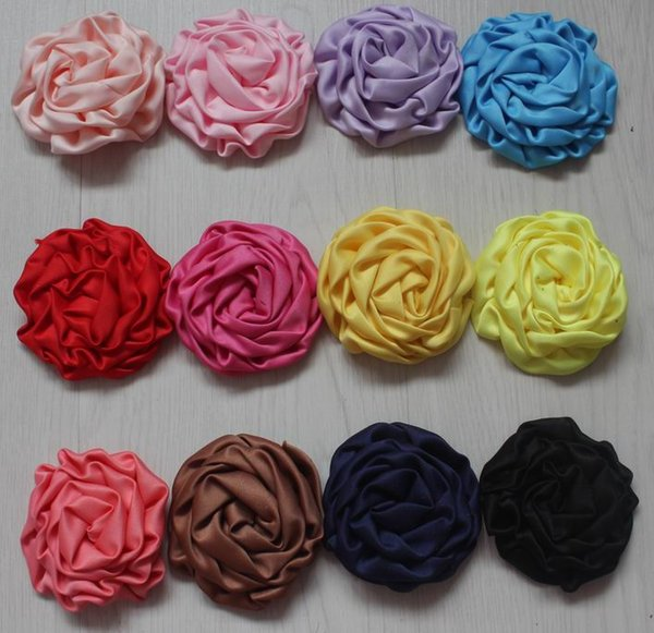 20pcs satin fabric rolled flower with lined alligator clip for girls,girl hair clip flower,diy craft flower supplies