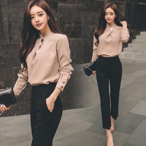 Femmes Business Suits 2 Deux Piece Ensembles Bureau Travail Porter Sexy Bodycon Vestidos Mode Chemise En Mousseline De Soie Tops et noir Pantalon Droit