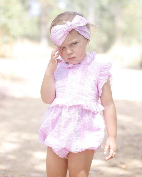 2018 Baby Girls Rompers Sets Cotton Pink Toddler Romper+ Headbands 2Pcs Set Summer Cute Infant Onesies Newest Boutique Clothes