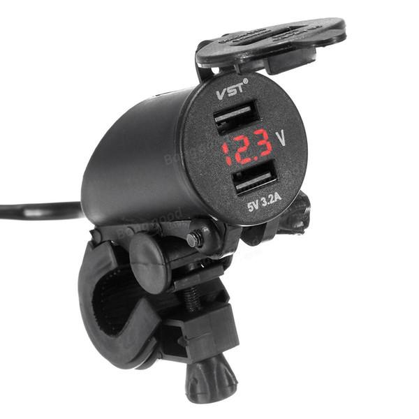 12V-24V 3.2A Motorcycle Car Dual Usb Power Charger LED Volt Meterr