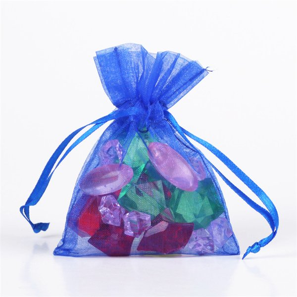 100 Pcs / lot Royal Blue Organza Drawstring Pouches Jewelry Wedding Favor Gift Bags Popular Packing Supply Popular Candy Bags 9x12cm