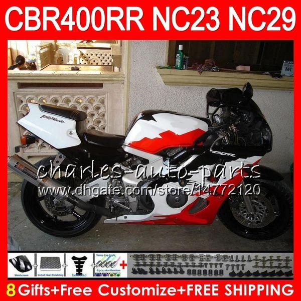 Kit For HONDA CBR400 RR NC23 White red CBR400RR 94 95 96 97 98 99 80HM.55 CBR 400 RR NC29 CBR 400RR 1994 1995 1996 1997 1998 1999 Fairing