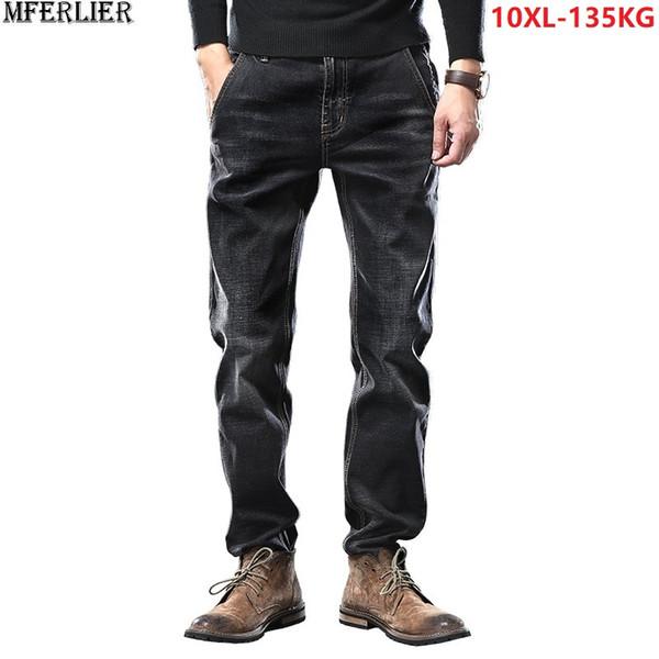 men jeans pants Trousers large size big 7XL 8XL 9XL 10XL winter autumn classic casual loose 48 50 blue black straight scratched