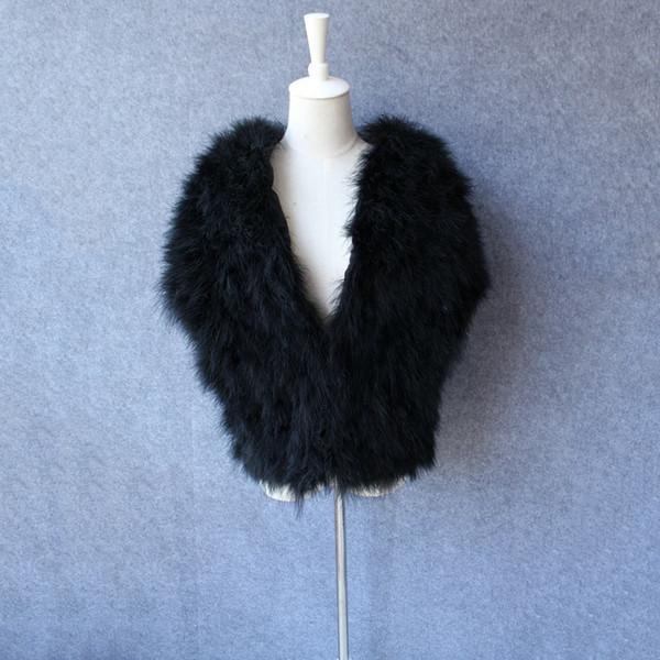 100% Real turkey Fur Shawls Natural Fur Wrap Women Evening Dress Solid black Winter Fashion Ostrich Turkey Feather Pashmina cape