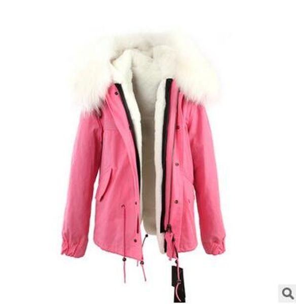 Cold weather snow coats Jazzevar brand White raccoon fur trim rabbit fur lining pink jackets fur parkas Australia new Zealand
