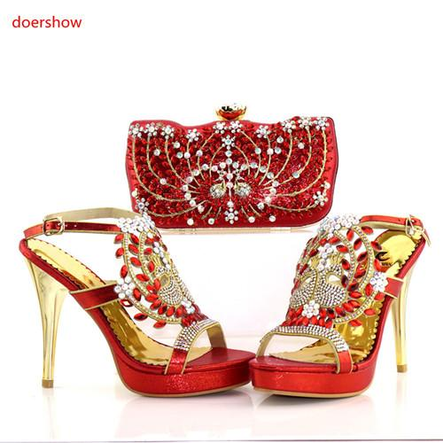 Red New Italian Style Woman Shoe And Evening Bag Set Fashion Rhinestone High Heels Woman Shoe And Bag Set For Party AC1-17216
