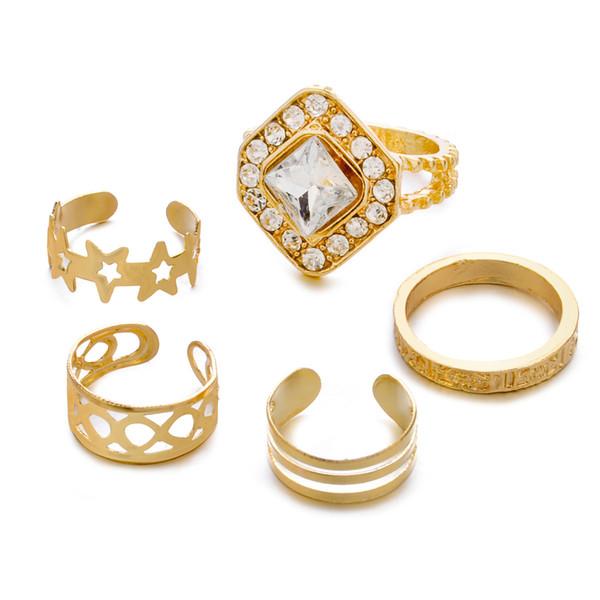 5pcs=1set Fashion Rings Set Women Star Hollow Gold Rhinestone Diamonds opening ring Fingernails Band Rings finger joint rings jewelry Gifts