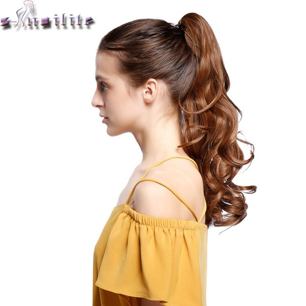 S-noilite 18 inches Long Ponytail Clip in Pony tail Hair Extensions Claw on Hair piece Wavy Black Brown Blonde Synthetic Fiber