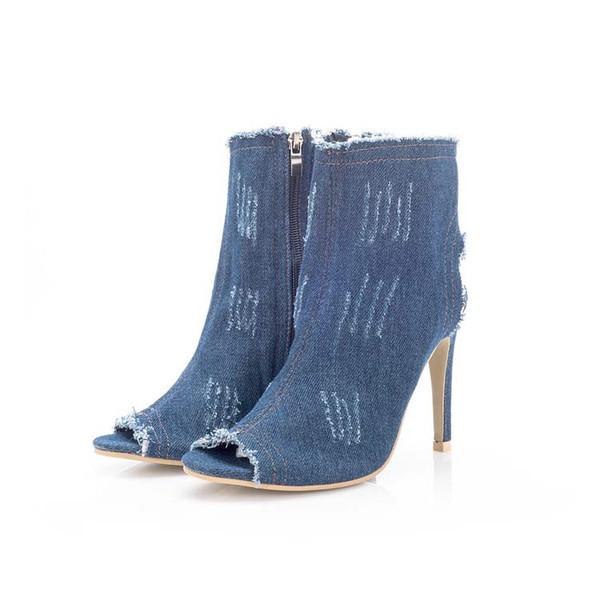 Denim Shoes Women's Sandals Woman Female Fashion Zipper Sandals Women High Heels Sandal Girls Shoe #38 Summer 2018