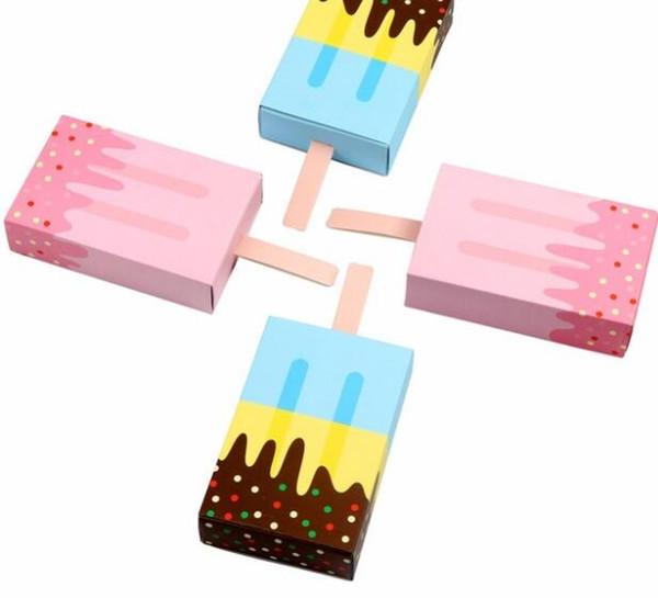 200 pcs / lot Crème Glacée Forme Mignon Coffrets Cadeaux Bébé Douche Fête D'anniversaire Boîte De Bonbons Dessin Animé Tiroir Boîte Cadeau Pour Enfants Fête De Partie