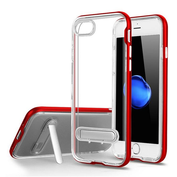 For iPhone XS Max XR bracket Phone Case Transparent TPU Against Falling Protective Phone Case For iPhone X 6 7 8 Plus