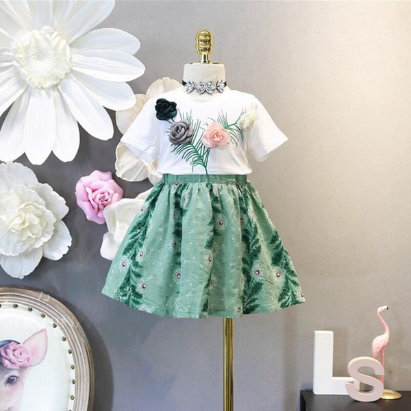 2018 Summer Girls Clothing Sets Baby Toddler Kids Girl Child Clothes Flor de manga corta T-shirt + Imprimir Tutu Skirt 2 piezas JW3544