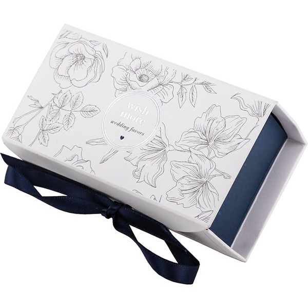 50pcs Large cardboard Gift box ribbon packaging wedding Red/Blue Rectangle gift paper boxes packing for girls
