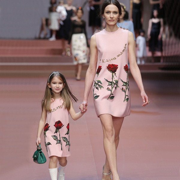 Flower Mother Daughter Dress Summer Party Family Clothing Mom and Daughter Dress Family Matching Outfit Dress for Kids and Women