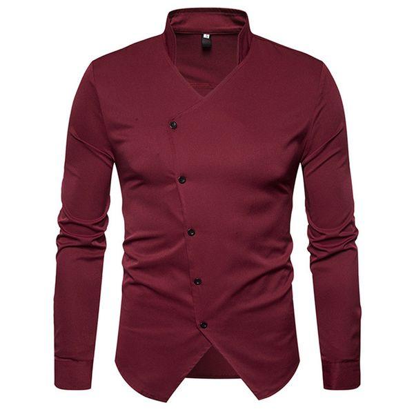 Men Tuxedo Shirts England Style Novelty Placket Slim Man Shirt Gentleman Wedding Party Blusa Long Sleeve Tide Stand Collar Tops
