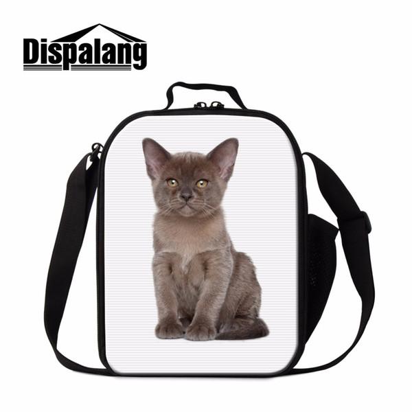 Dispalang Pet Animal Preschool Students Lunchbox For School Grey Cat Women Isothermal Lunch Bag Handle Meal Packag Cooler Bag