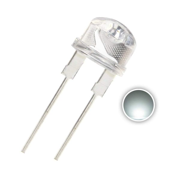 pcs 8mm White LED Diode Lights (Clear Straw Hat Transparent DC 3V 250mA 0.75W) High Intensity Super Bright Lighting Bulb Lamps Electronics