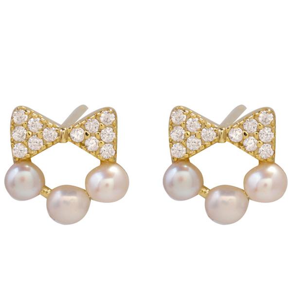 Pure Silver Bow Tie Pearl Ear Stud Female Ear Pierced Temperament Simple Korean Personality 2018 New Earrings