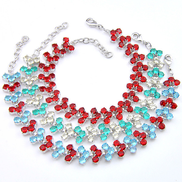 Luckyshine 6 pcs 1 Lot Optional 3 color Holiday Gift Pure Handmade Shiny Topaz Gem Silver Chain Bracelets Bangles Russia USA Bracelets